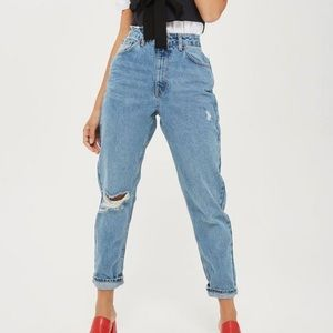 Topshop moto mom light was distressed jeans 25